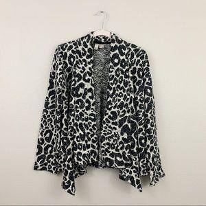 F21  Animal Print Spotted Open Drape Cardigan